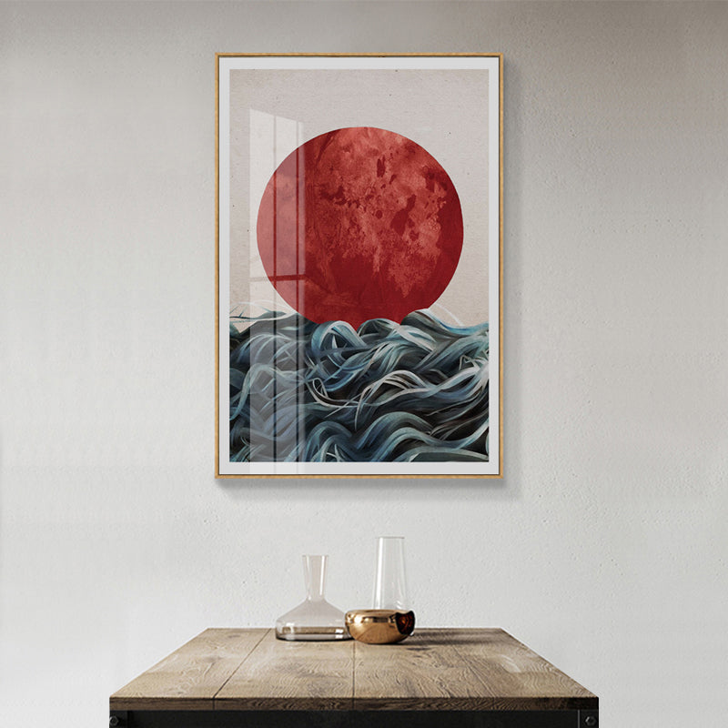 Abstract Japanese Sunrise Wall Art Canvas Painting