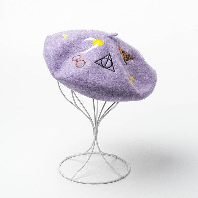 Potterhead Wool Beret Embroidery Hat