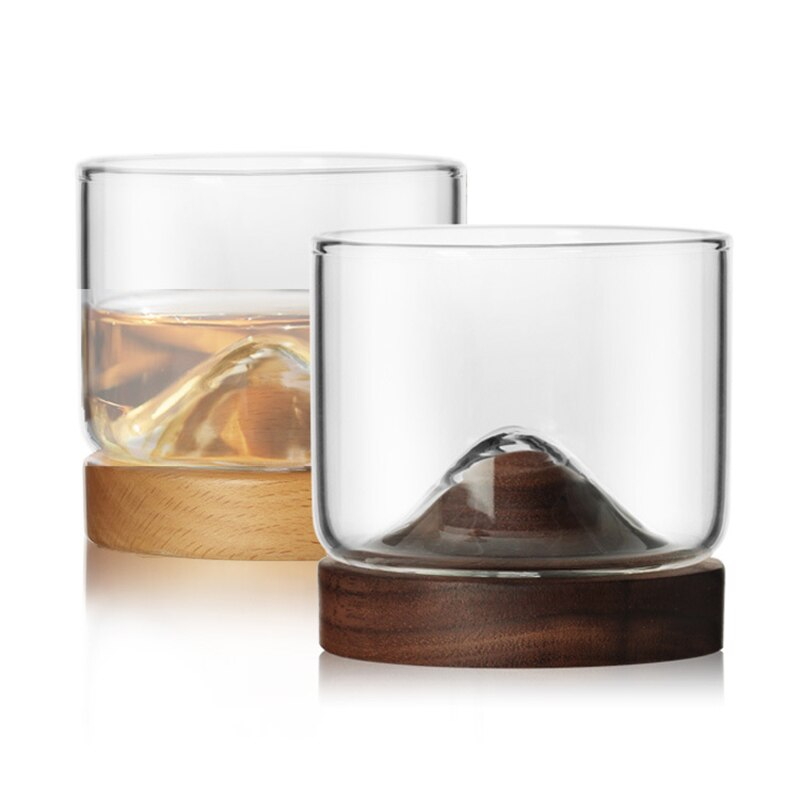 Caribbean Whiskey Glass with Walnut Wood Base