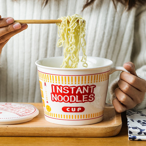 Large Ceramic Hot Noodles Bowl With Cover
