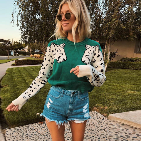 Knitted Cropped Leopard Long Sleeve Knitted Pullover