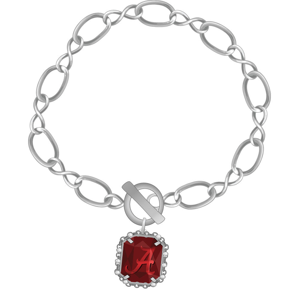 Alabama Crimson Tide Etched Chain Bracelet Silver Plated