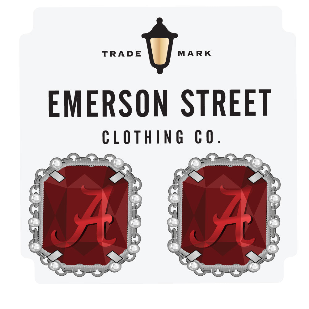 Alabama Crimson Tide Etched Stud Earrings Silver Plated