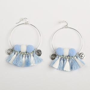 NORTH CAROLINA TARHEELS MACI MULTI TASSEL EARRINGS