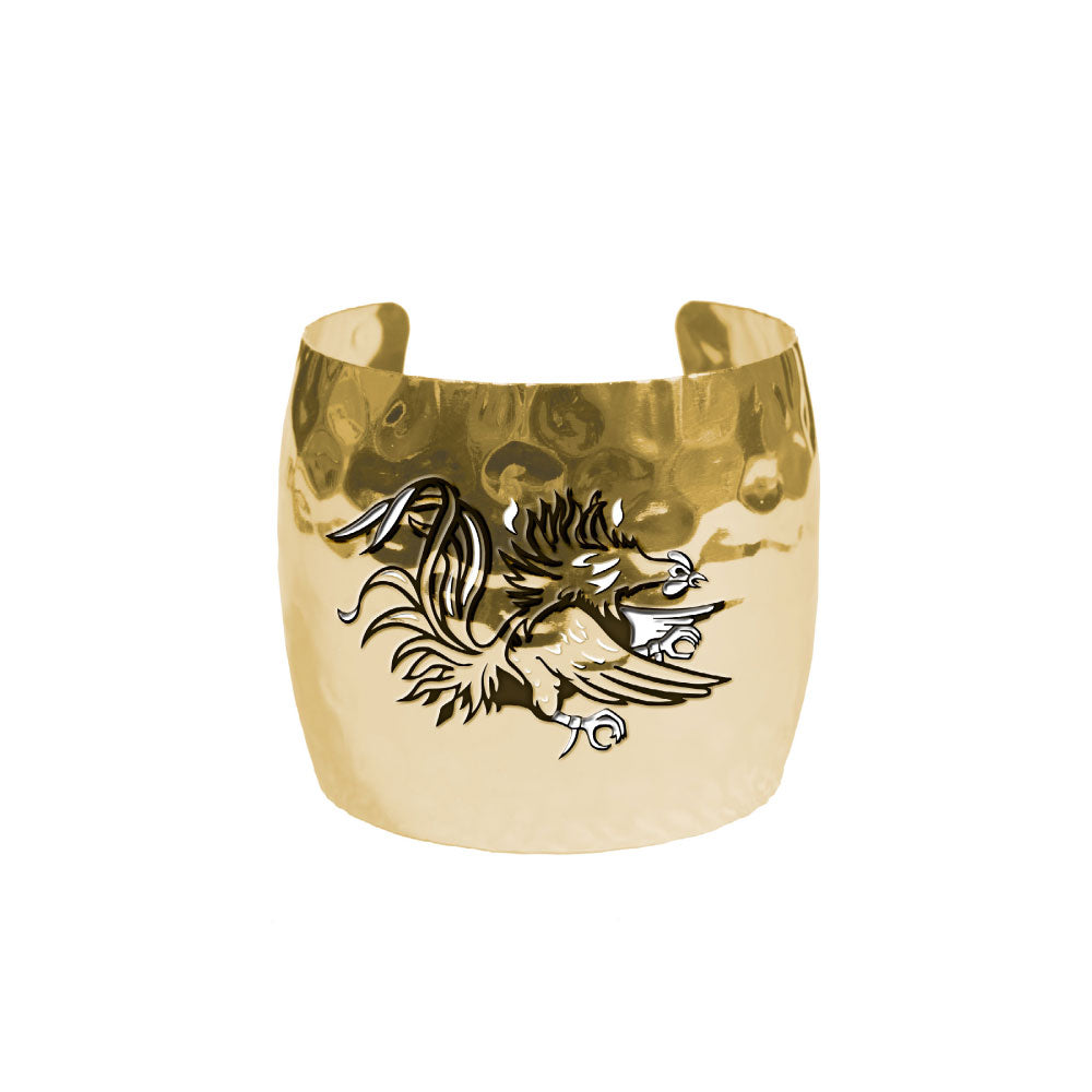 SOUTH CAROLINA GAMECOCKS HAMMERED CUFF GOLD PLATED