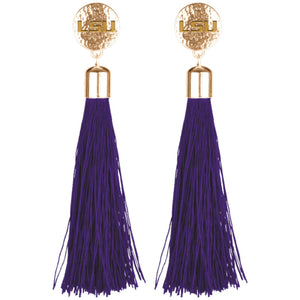 LSU TIGERS TIA TASSEL EARRINGS