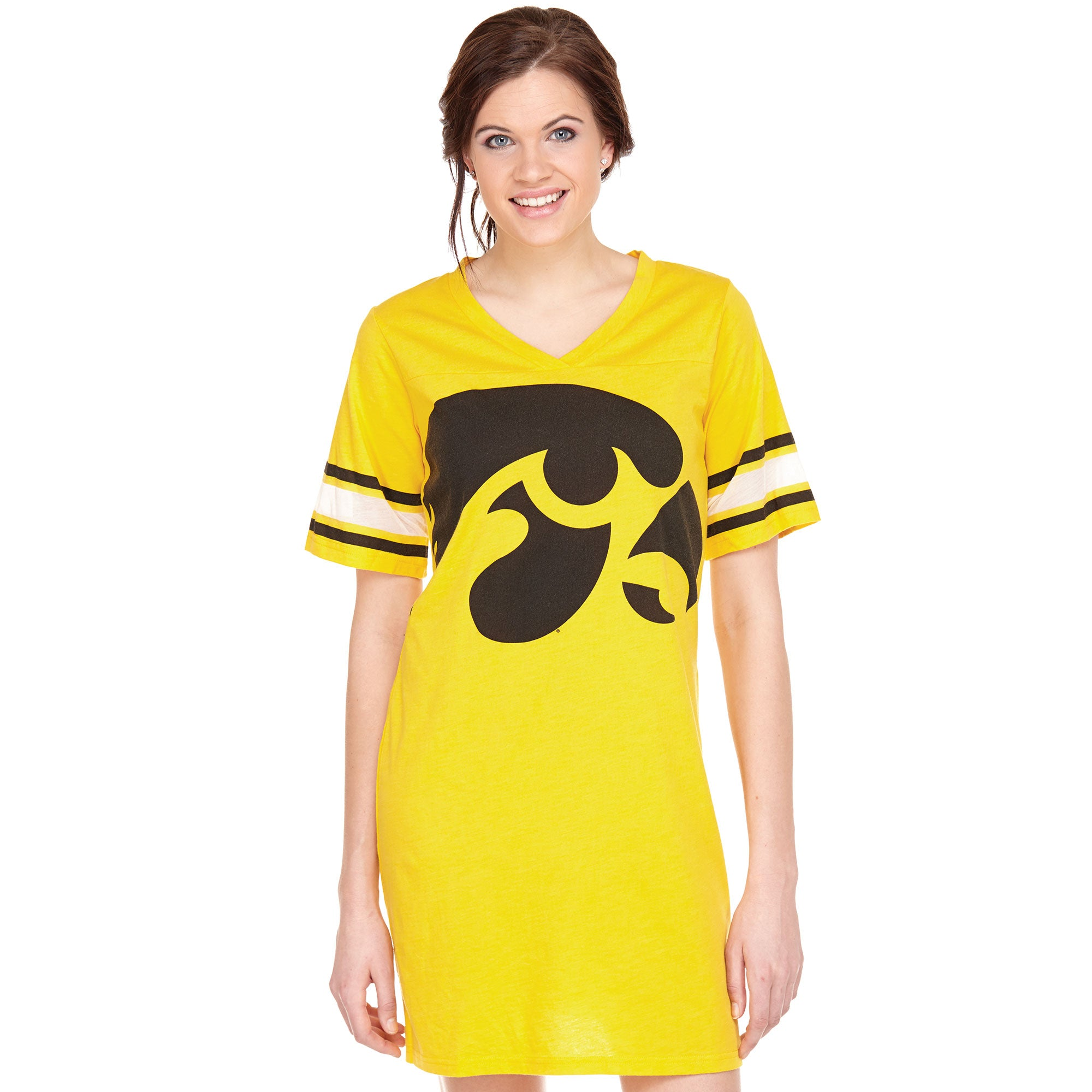 Iowa Hawkeyes Heathered Football Jersey Nightshirt