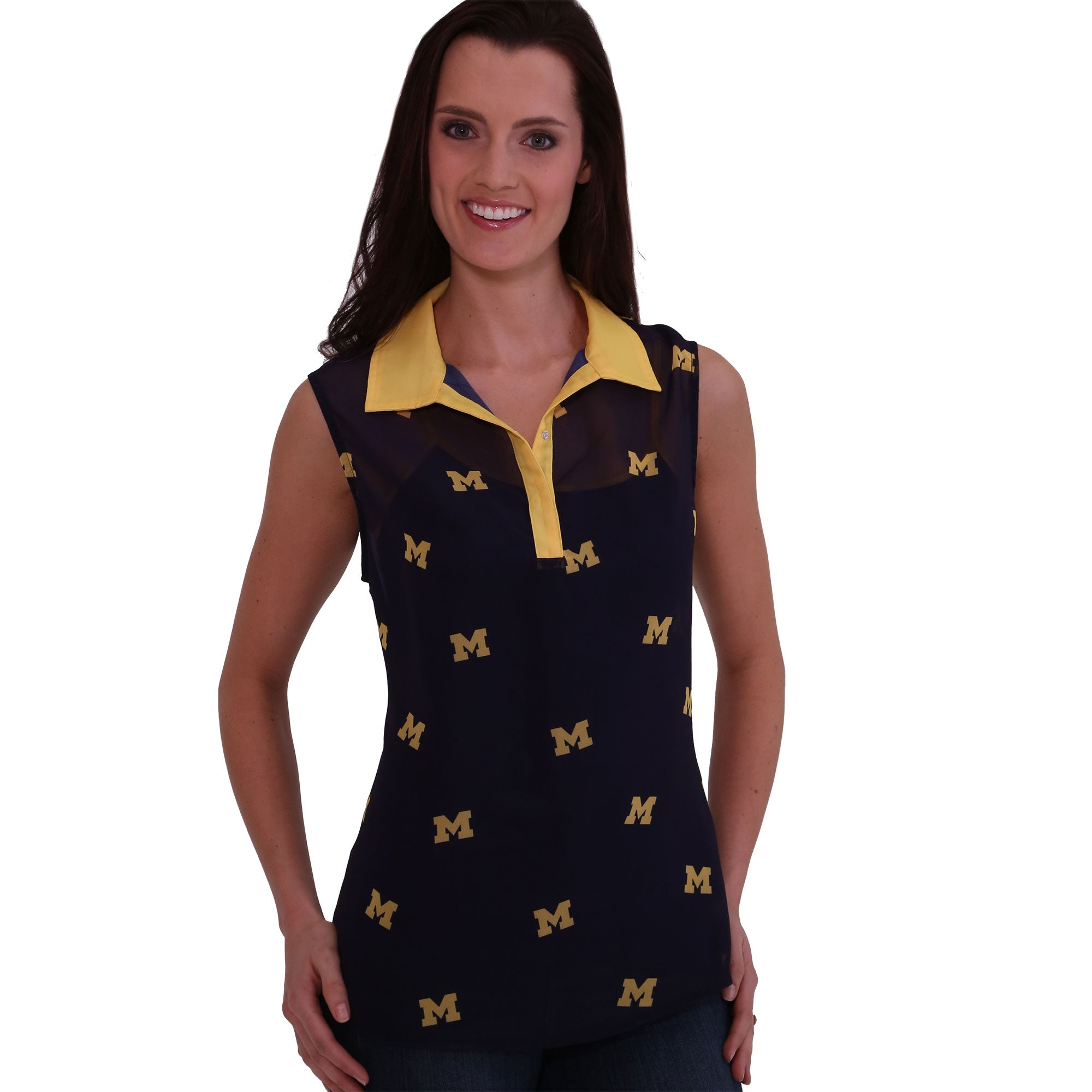 MICHIGAN WOLVERINES SHEER SLEEVELESS POLO