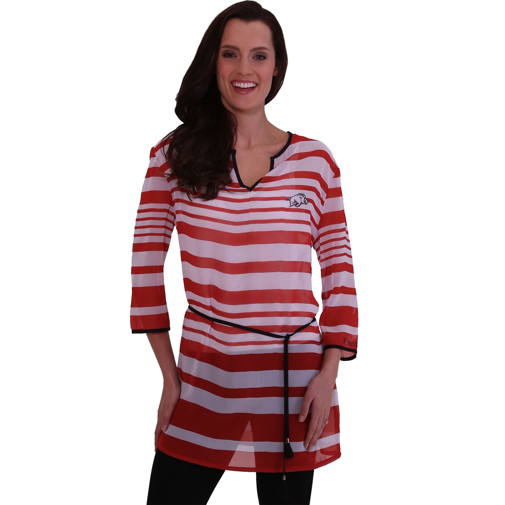 ARKANSAS RAZORBACKS SHEER STRIPE TUNIC