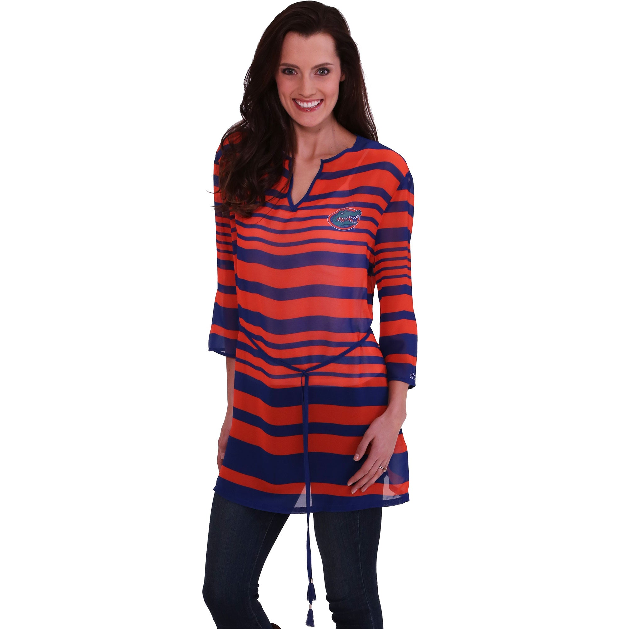 FLORIDA GATORS SHEER STRIPE TUNIC