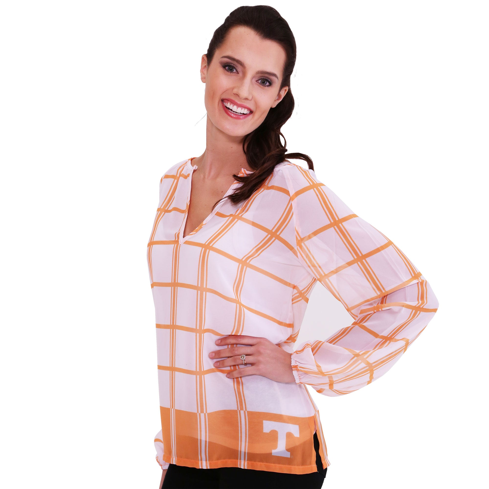 Tennessee Volunteers Plaid Sheer Top