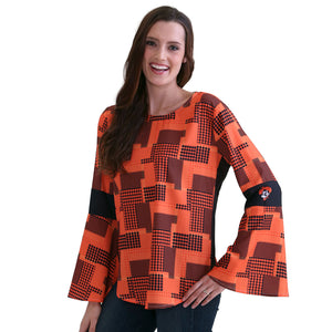 OKLAHOMA STATE COWBOYS ERIN  BELL SLEEVE TOP