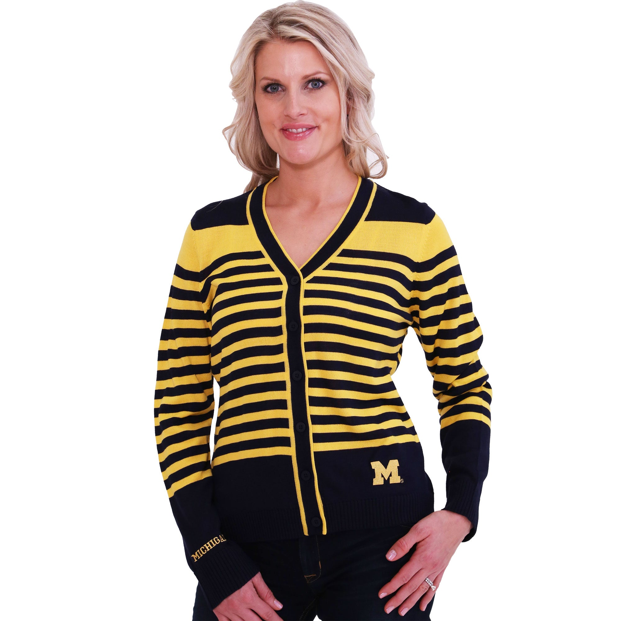 Michigan Wolverines Striped Cardigan