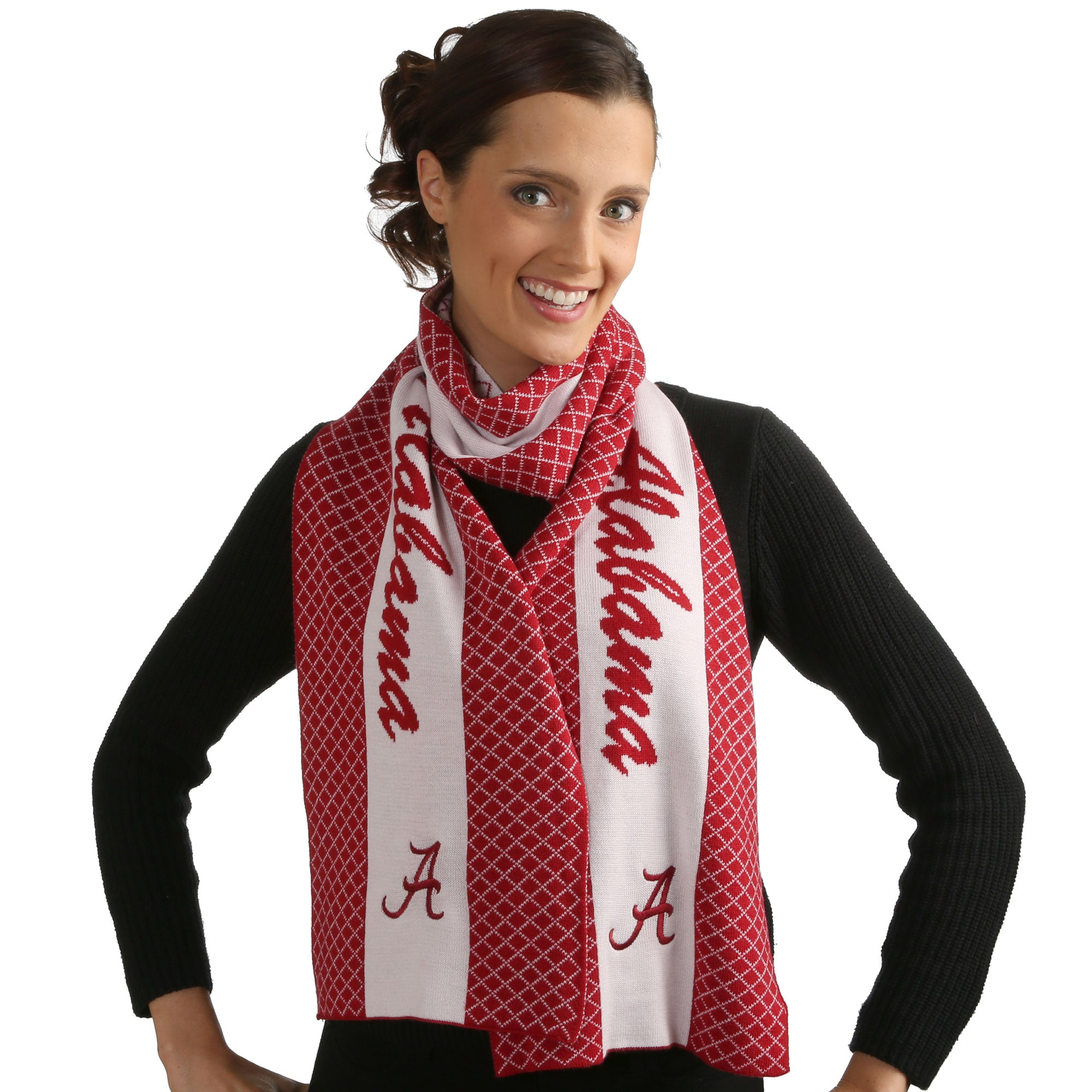ALABAMA ROLL TIDE AUBURN TIGERS 2 TONE KNIT SCARF