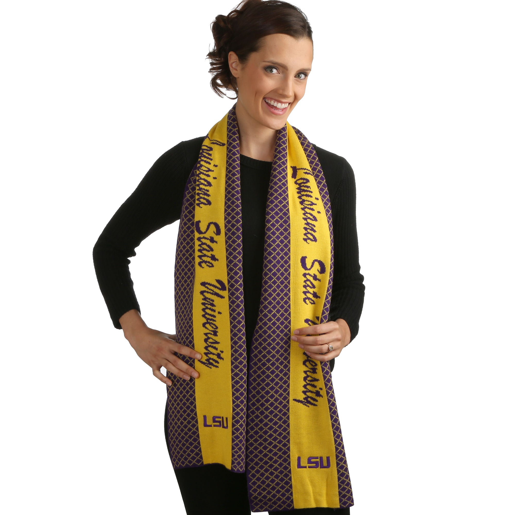LSU TIGERS 2 TONE KNIT SCARF