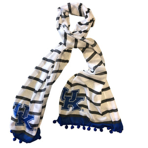 KENTUCKY WILDCATS DINA SHEER SCARF WITH POMPOMS