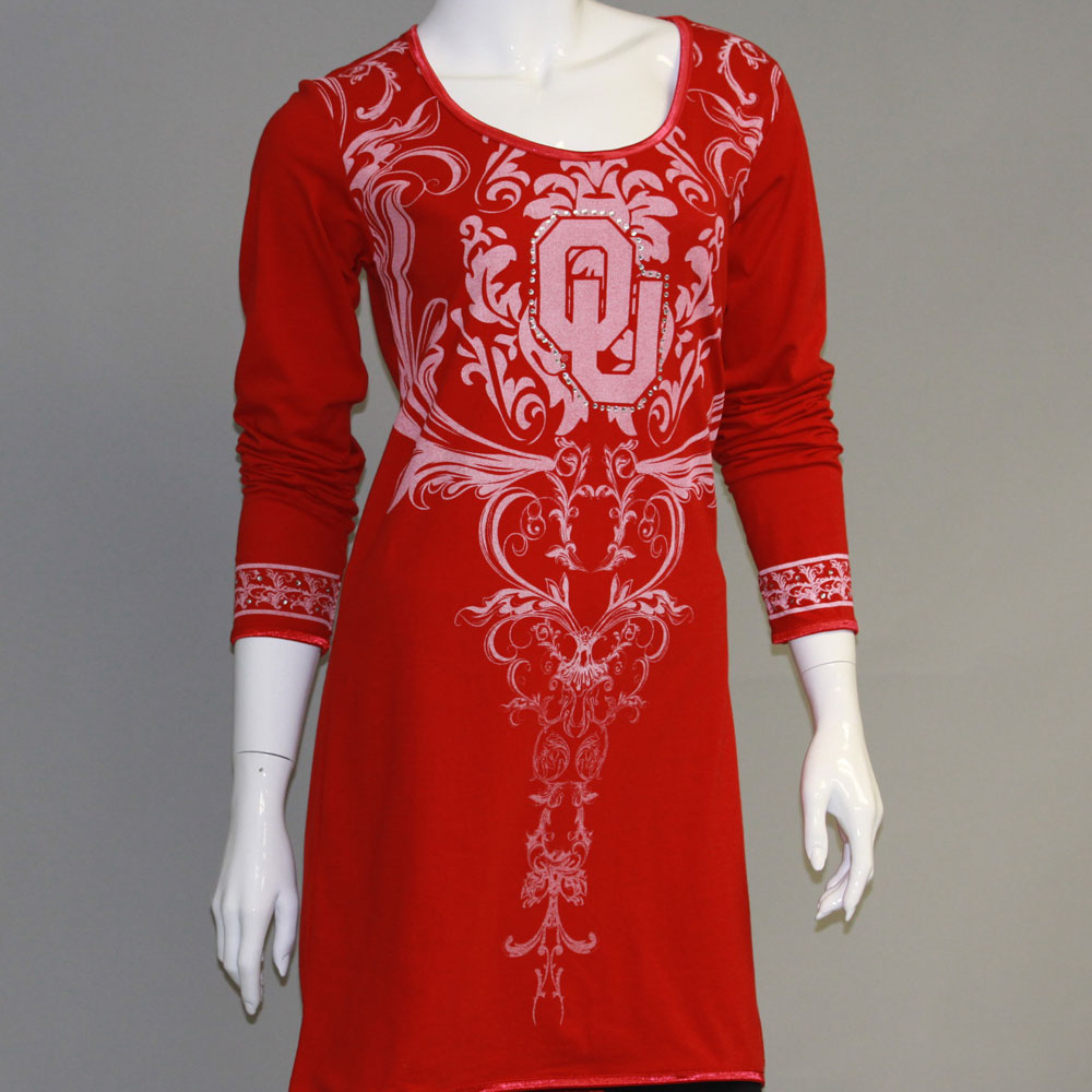 Oklahoma Sooners Long Sleeve Satin Trim Tunic