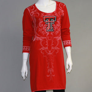 Texas Tech Red Raiders Long Sleeve Satin Trim Tunic
