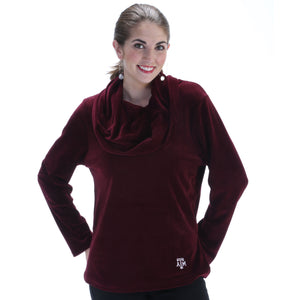 TEXAS A&M AGGIES EMMA VELOUR COWL NECK TOP