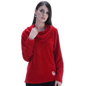 OKLAHOMA SOONERS, EMMA VELOUR COWL NECK TOP