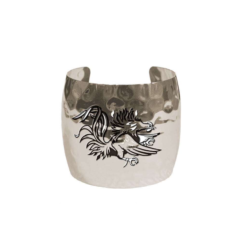 SOUTH CAROLINA GAMECOCKS HAMMERED CUFF SILVER PLATED