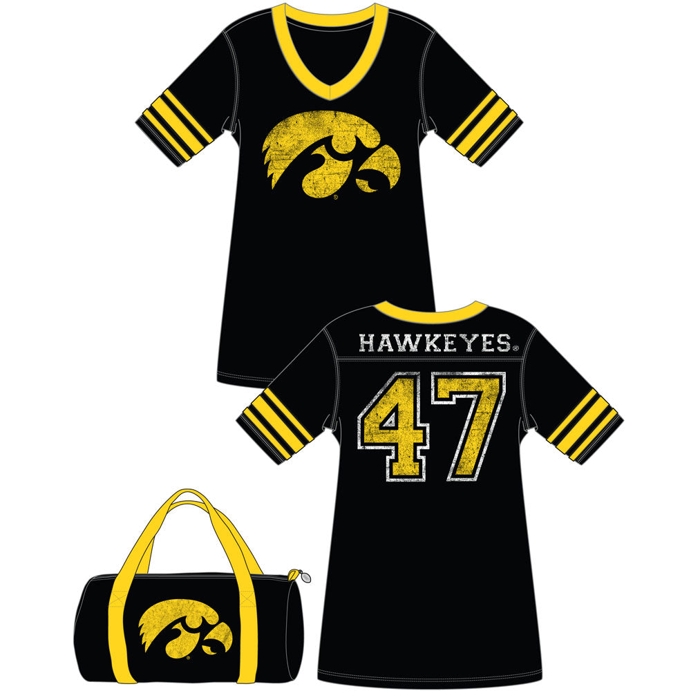 Iowa Hawkeyes Jersey Nightshirt in a Duffel