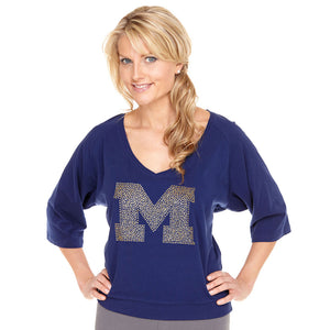 Michigan Wolverines Jeweled Raglan V Neck