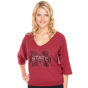 Mississippi State Bulldogs Jeweled Raglan V Neck