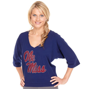 Mississippi Rebels Jeweled Raglan V Neck