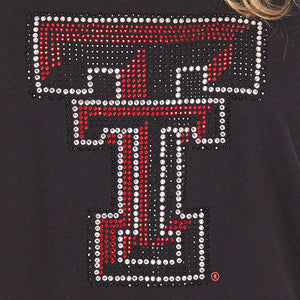 Texas Tech Red Raiders Jeweled Raglan V Neck