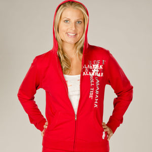 Alabama Crimson Tide Flocked Zip Hoody