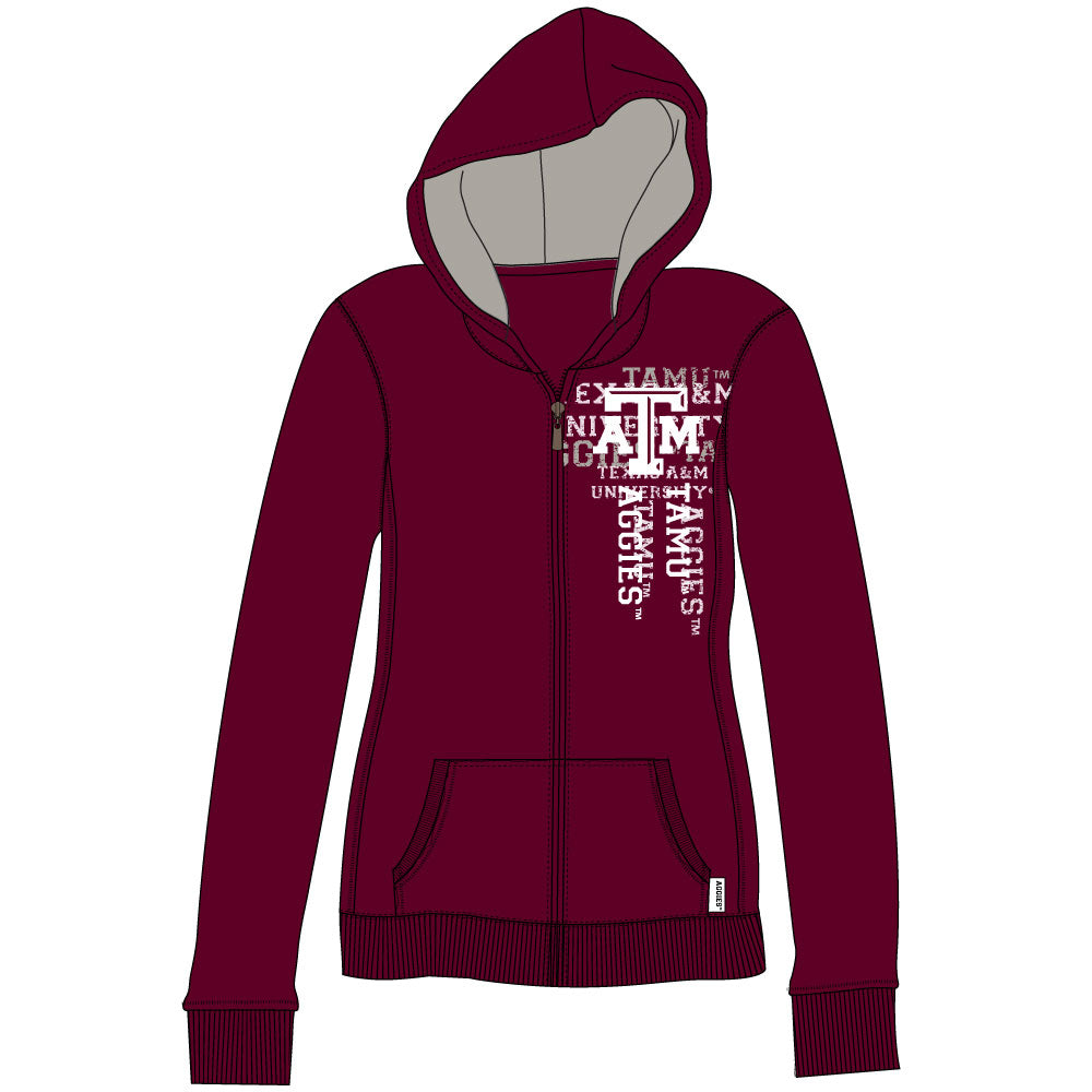 Texas A&M Aggies Flocked Zip Hoody