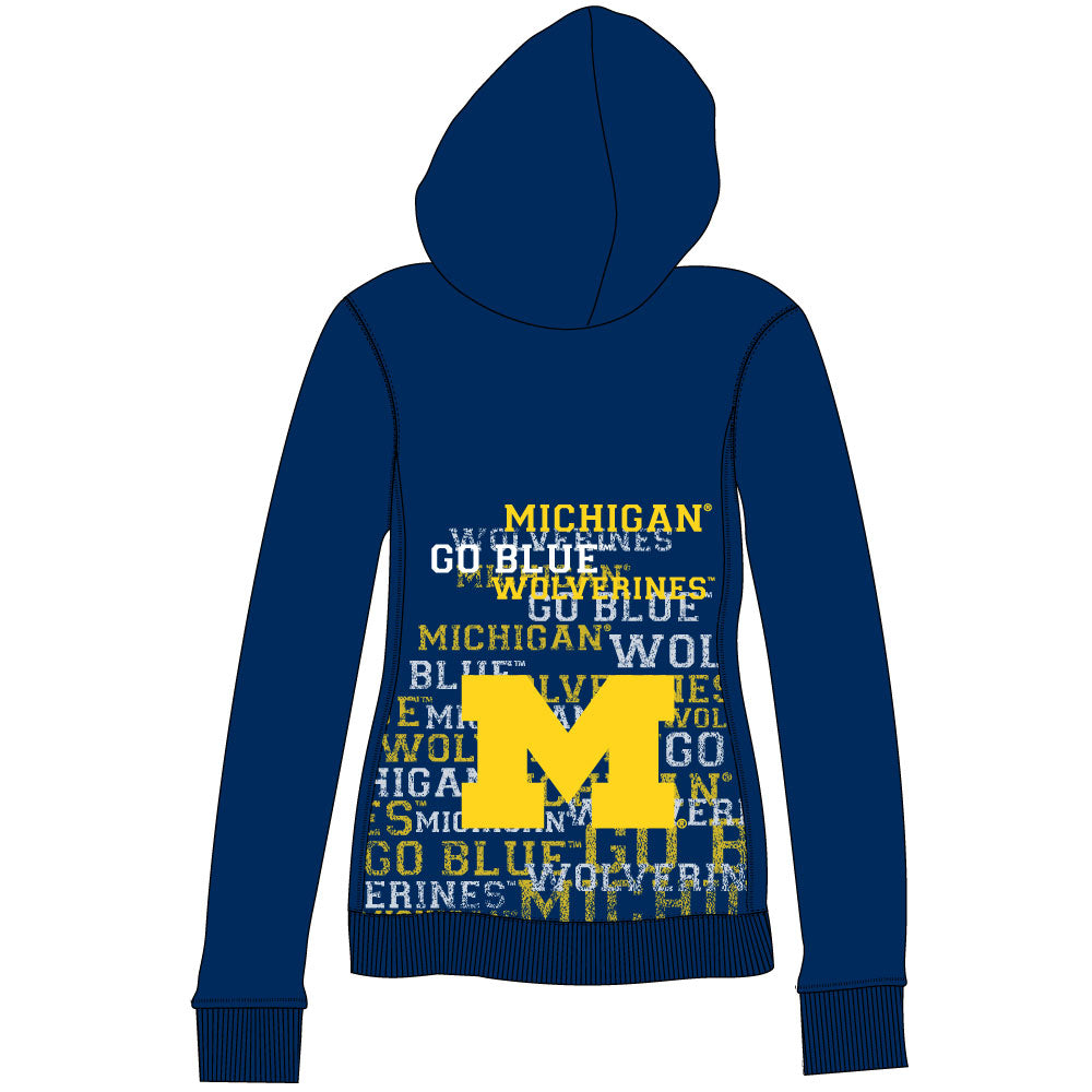 Michigan Wolverines Flocked Zip Hoody