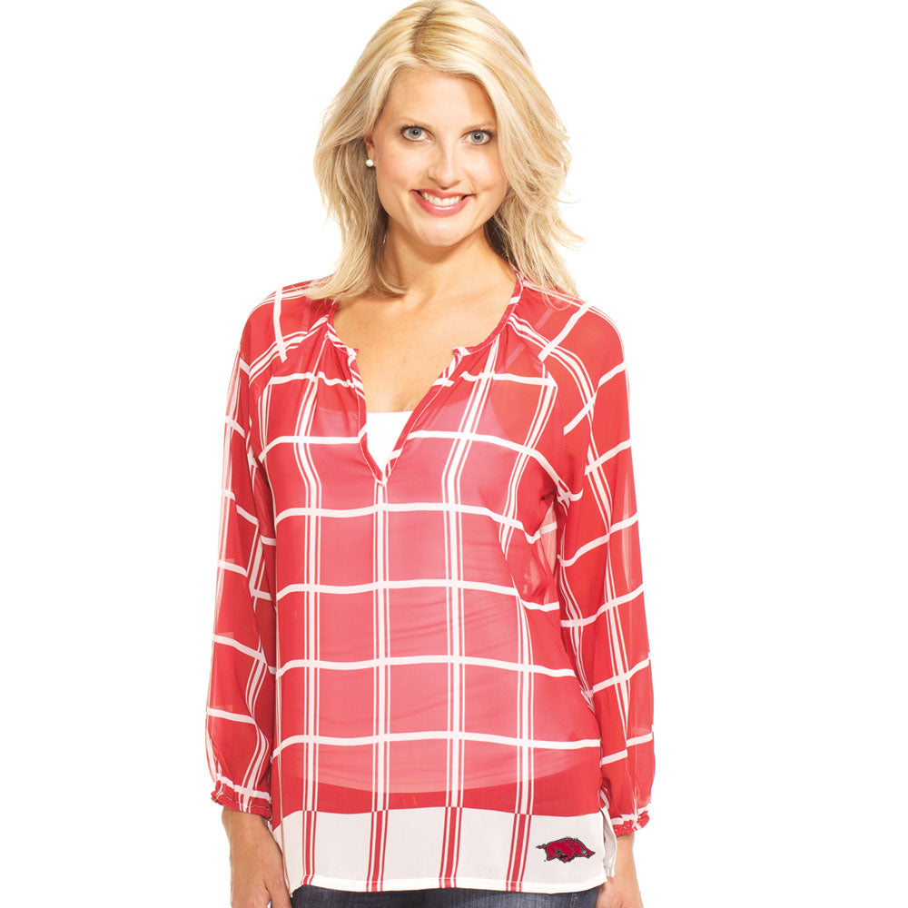 Arkansas Razorbacks Plaid Sheer Top
