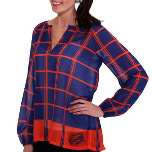 Florida Gators Plaid Sheer Top