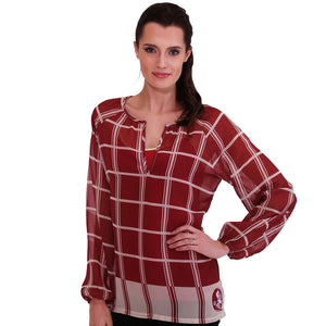 Florida State Seminoles Plaid Sheer Top