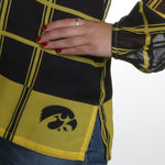 Load image into Gallery viewer, Iowa Hawkeyes Plaid Sheer Top