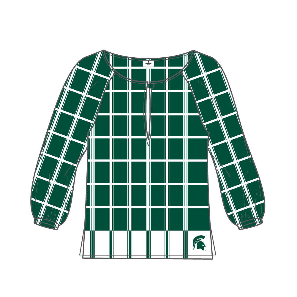 Michigan State Spartans Plaid Sheer Top