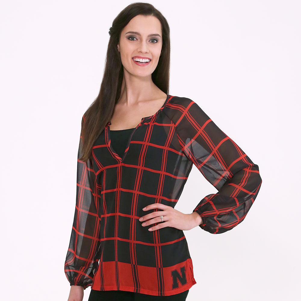 Nebraska Cornhuskers Plaid Sheer Top