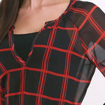 Load image into Gallery viewer, Nebraska Cornhuskers Plaid Sheer Top