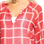 Load image into Gallery viewer, Arkansas Razorbacks Plaid Sheer Top