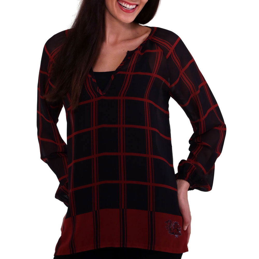 South Carolina Gamecocks Plaid Sheer Top