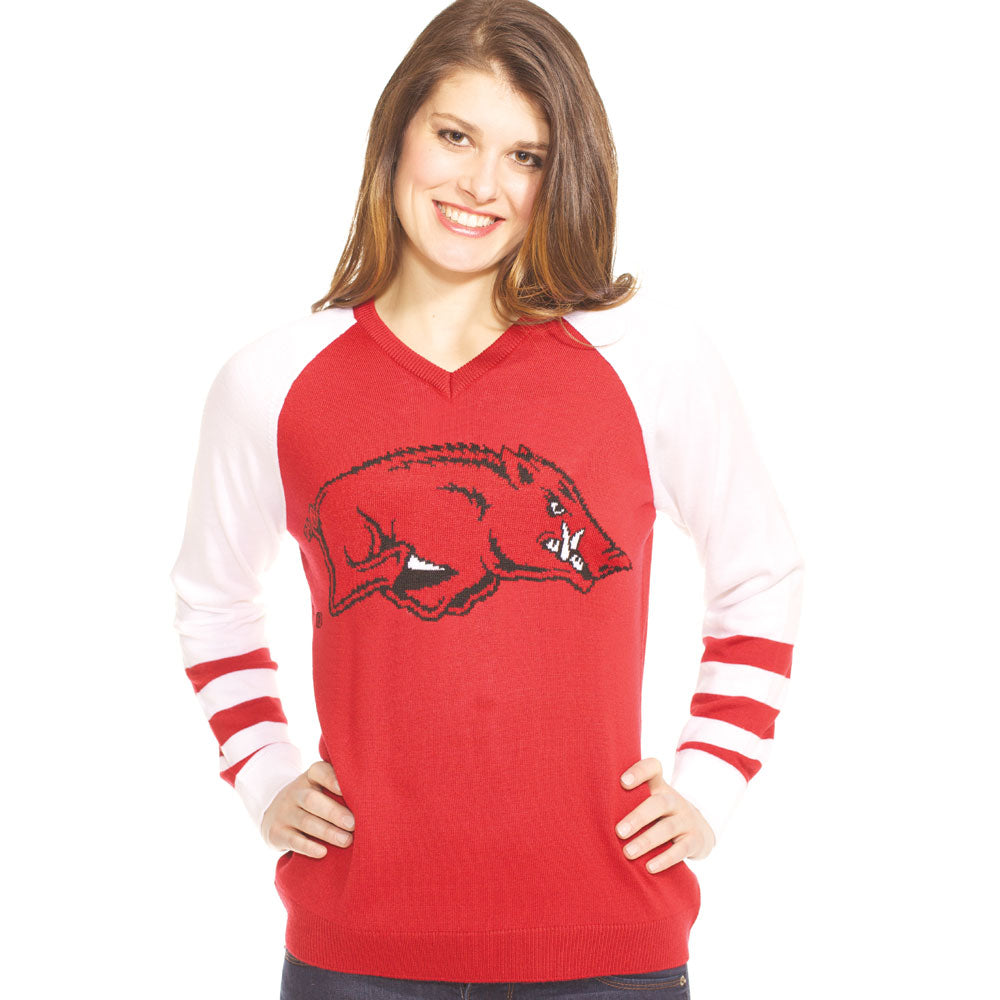 Arkansas Razorbacks V Neck Logo Sweater