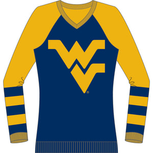 West Virginia Mountaineers V Neck Logo Sweater