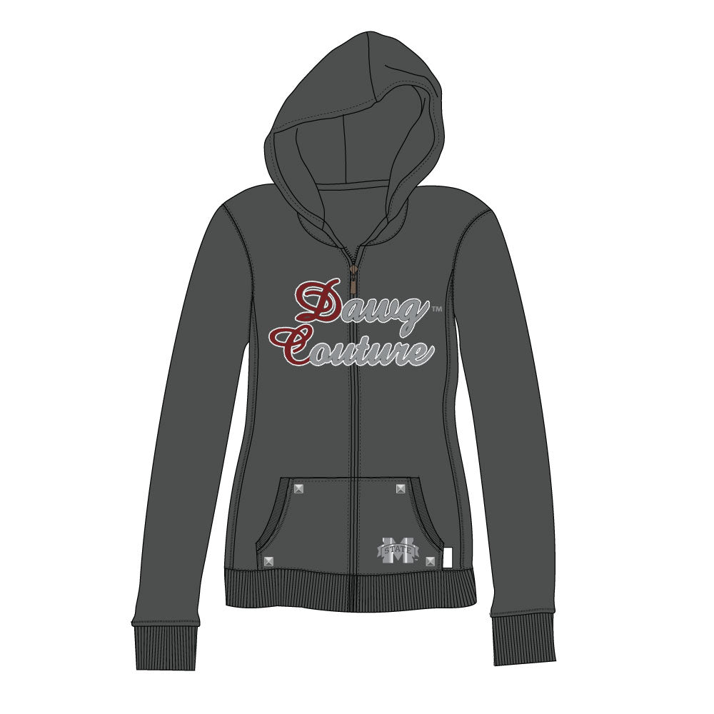 Mississippi Bulldogs Couture Full Zip Hood