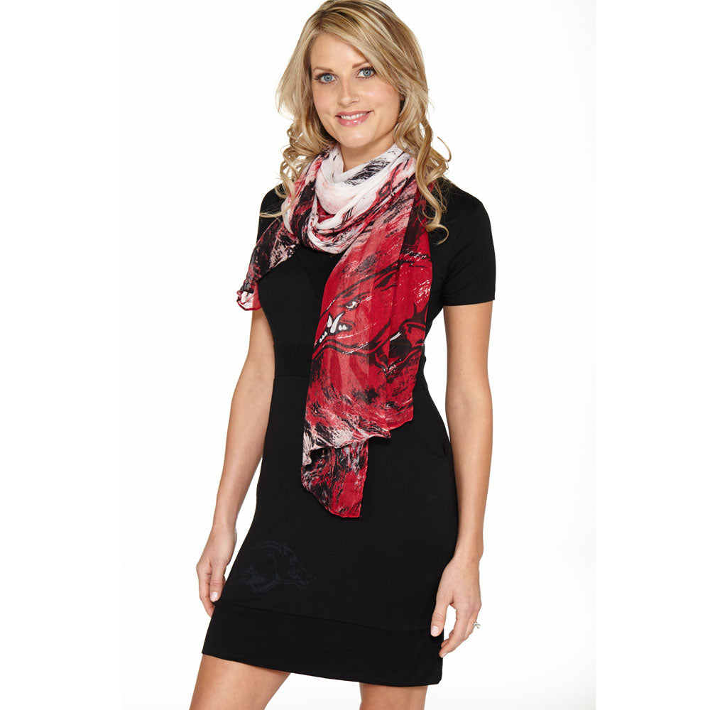 Arkansas Razorbacks Watercolor Scarf