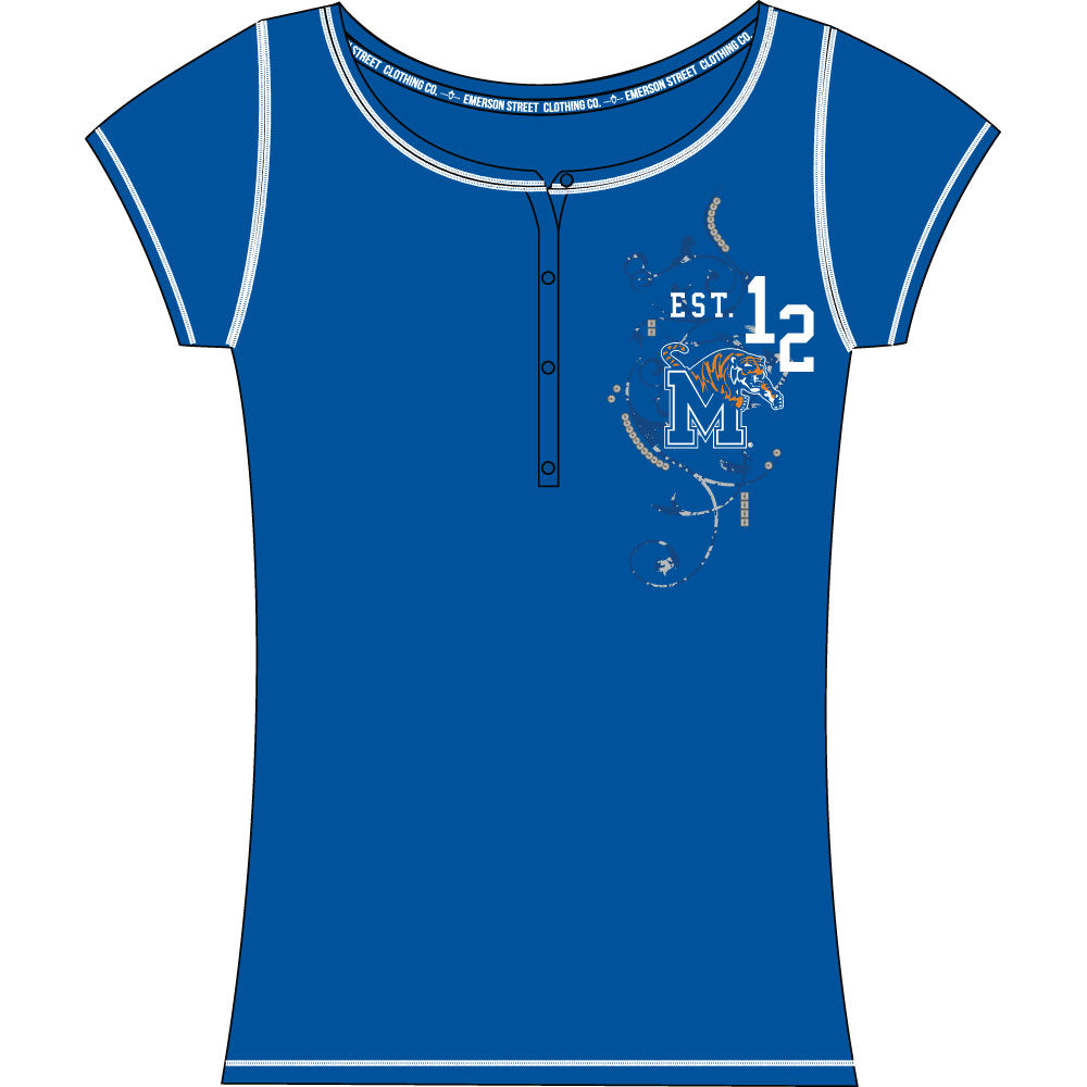 Memphis Tigers Heather Henley Short Sleeve Top