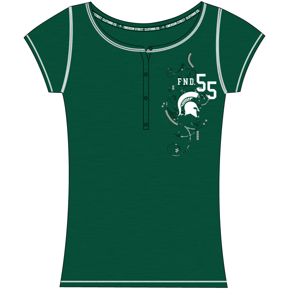 Michigan State Spartans Heather Henley Short Sleeve Top