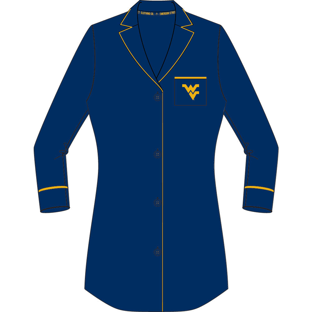 West Virginia Mountaineers Button Down Nightshirt