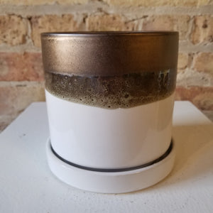 "Ceramic Pot with Saucer, Ivory and Bronze || 5"" x 5"""
